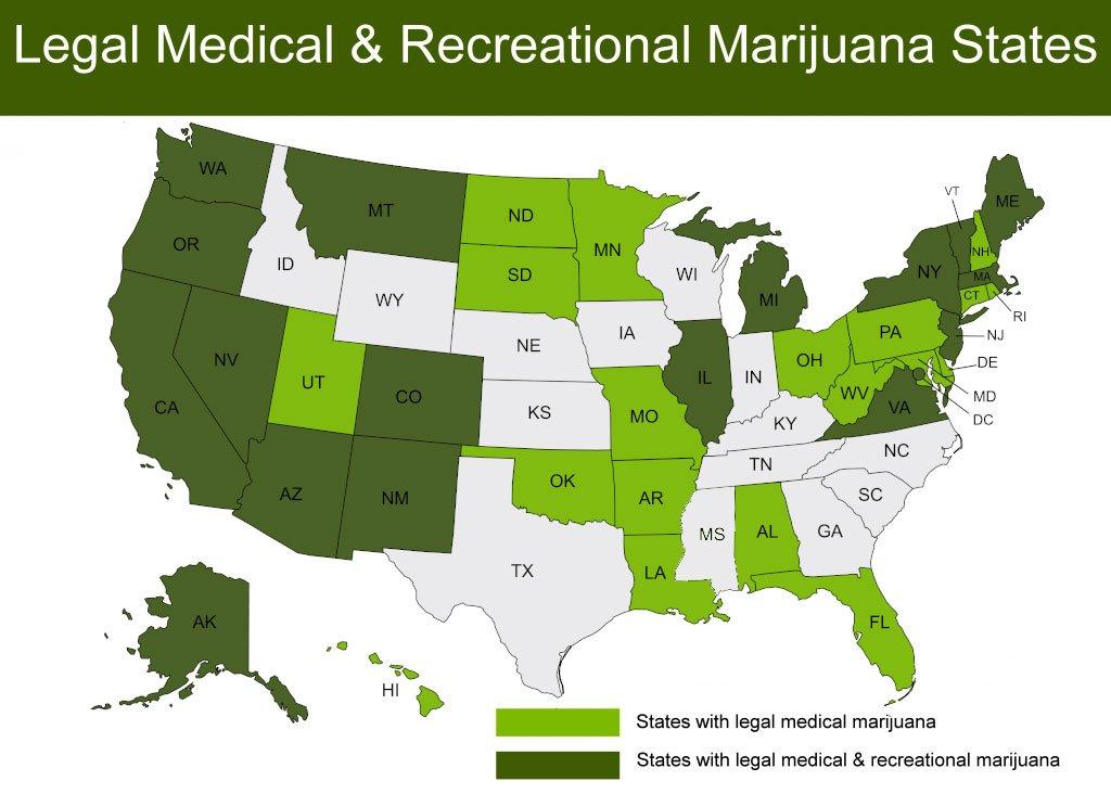 U.S. states and marijuana map