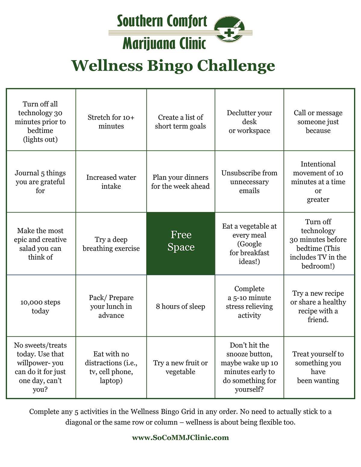 card for wellness bingo